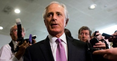 Sen. Bob Corker, Senate Foreign Relations chairman, arrives for a briefing on Iran nuclear negotiations with Secretary of State John Kerry in the Capitol on Tuesday, April 14. (Photo: Bill Clark/CQ Roll Call/Newscom)