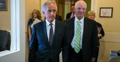 Sens. Bob Corker, R-Tenn., and Ben Cardin, D-Md., after a final vote on a bill to review a potential Iran nuclear deal (Photo: Newscom)