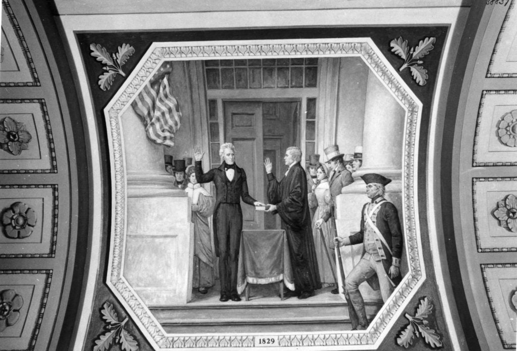 Andrew Jackson is sworn into office by Chief Justice John Marshall (Photo: Picture History/Newscom)