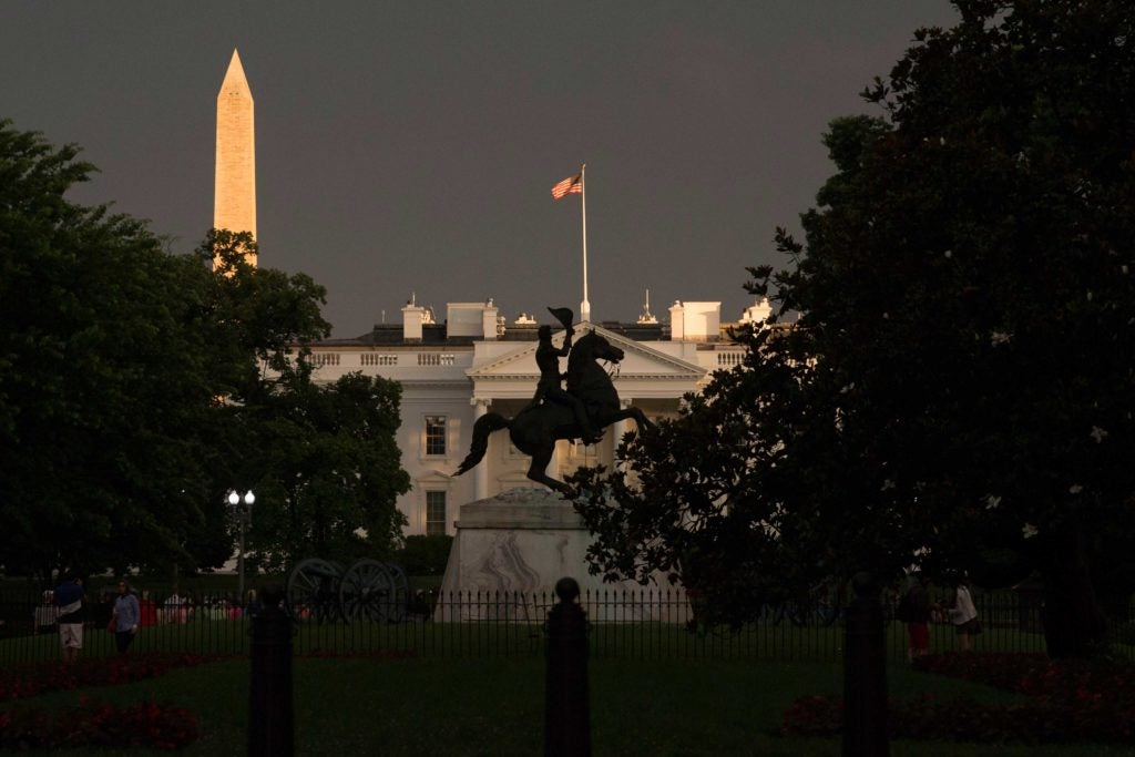An Andrew Jackson statue stands in front of the White House. (Photo: Michael Reynolds/EPA/Newscom)