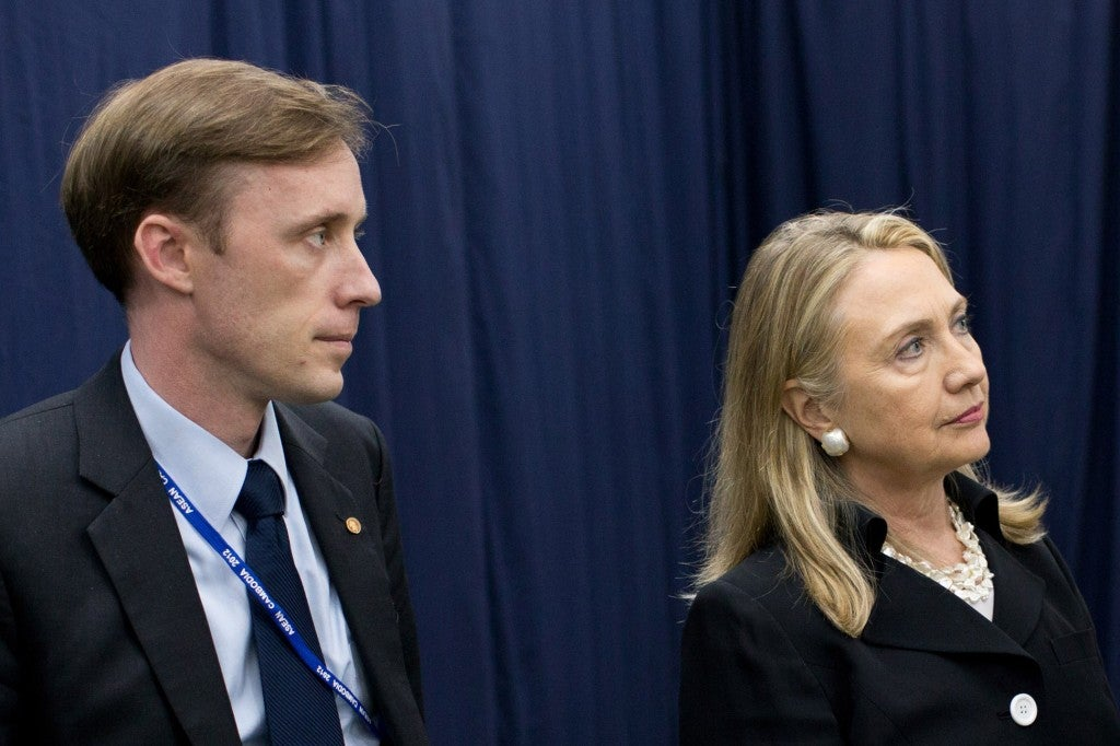 Jake Sullivan, left, and Hillary Clinton in 2012. (Photo: Official White House Photo/Pete Souza)
