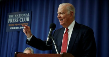 Former U.S. Secretary of State James Baker speaks about a plan to replace the Clean Power Plan at the National Press Club in Washington, D.C., on Feb. 8, 2017. (Photo: Kevin Lamarque /Reuters/Newscom)