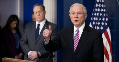 Attorney General Jeff Sessions delivered remarks and answered questions at the White House on state cooperation with federal immigration law enforcement officials, March 27, 2017. (Photo: Shawn Thew/EPA/Newscom)