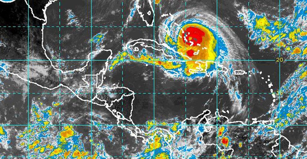A satellite image taken of Hurricane Joaquin on Thursday shows it passing over the Bahamas. (Photo: NOAA/UPI/Newscom)