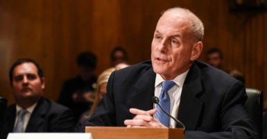 Retired Marine Corps Gen. John Kelly testifies at the Senate Homeland Security and Governmental Affairs Committee hearing on his nomination to lead the Department of Homeland Security. (Photo: Bao Dandan Xinhua News Agency/Newscom)