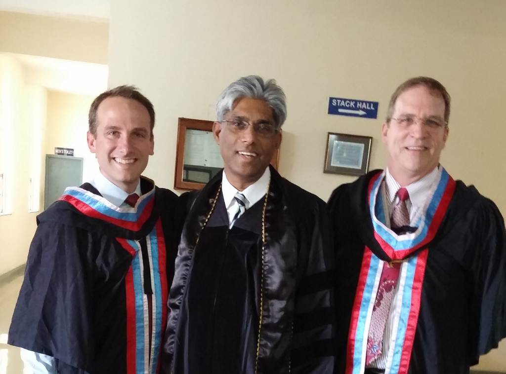 Pastor Jesse Johnson pictured with Michael Connor and Seminary President Dr. Saji Lukos (Photo: Jesse Johnson)