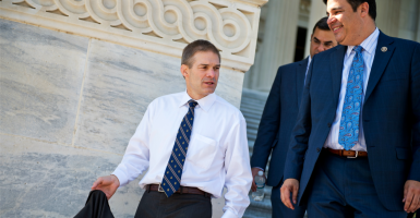 Rep. Jim Jordan (left), chair of the conservative House Freedom Caucus, says his group will continue to support Paul Ryan for speaker despite a new budget deal negotiated by outgoing Speaker John Boehner. (Photo: Tom Williams/CQ Roll Call/Newscom)