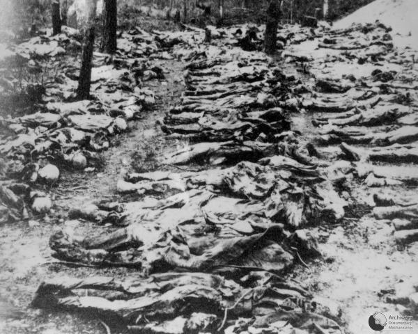 Photo from 1943 exhumation of mass grave of Polish officers killed by Soviet NKVD in Katy? Forest in 1940, under Joseph Stalin's reign.