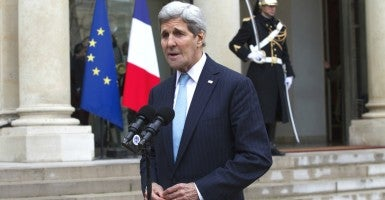 John Kerry meeting at the Elysee Presidential Palace. Paris, France Nov. 17, 2015 (Photo: KCS Presse / Splash News/Newscom)