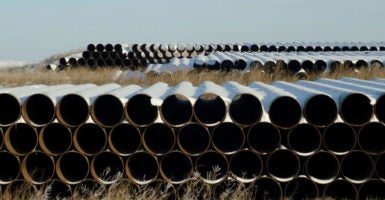 A depot used to store pipes for TransCanada's planned Keystone XL oil pipeline is seen in Gascoyne, North Dakota. (Photo: Andrew Cullen/Reuters /Newscom)
