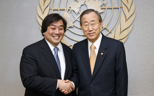 Harold Koh with U.N. Secretary-General Ban Ki-moon (Photo: UPPA/ZUMApress/Newscom)