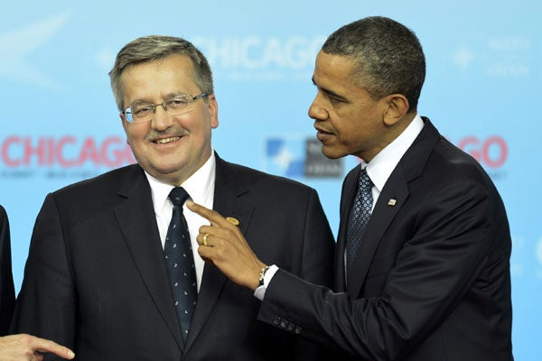 Polish President Bronislaw Komorowski and Obama