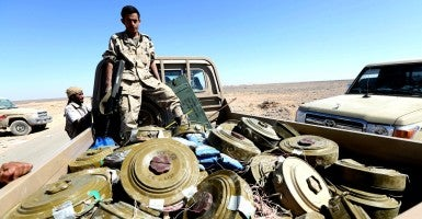A Yemen government soldier transporting landmines. (Photo: Ali Owidha/Reuters/Newscom)