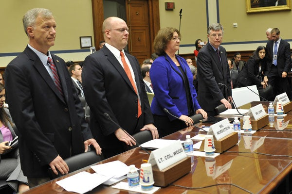 (L to R) Lt. Col. Andrew Wood, Utah National Guard of the U.S. Army, Eric Nordstrom, Regional Security Officer of the U.S. Department of State, Charlene R. Lamb, Deputy Assistant Secretary for International Programs of the Bureau of Diplomatic Security of the U.S. Department of State, and Patrick Kennedy, Under Secretary for Management of the U.S. Department of State, testify on the security failures in Benghazi. (Photo: Xinhua)