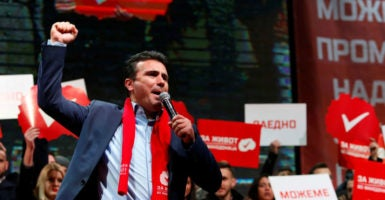 Zoran Zaev, the leader of Macedonia's socialist opposition party, greets supporters at a pre-election rally, Dec. 4, 2016. (Photo: Ognen Teofilvovski/Reuters/Newscom)