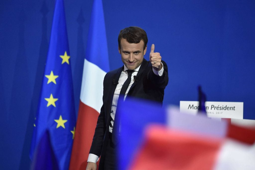 French presidential candidate, Emmanuel Macron, is the early favorite to win the May 7 runoff election. (Photo: Pierre Villard/SIPA/Newscom)