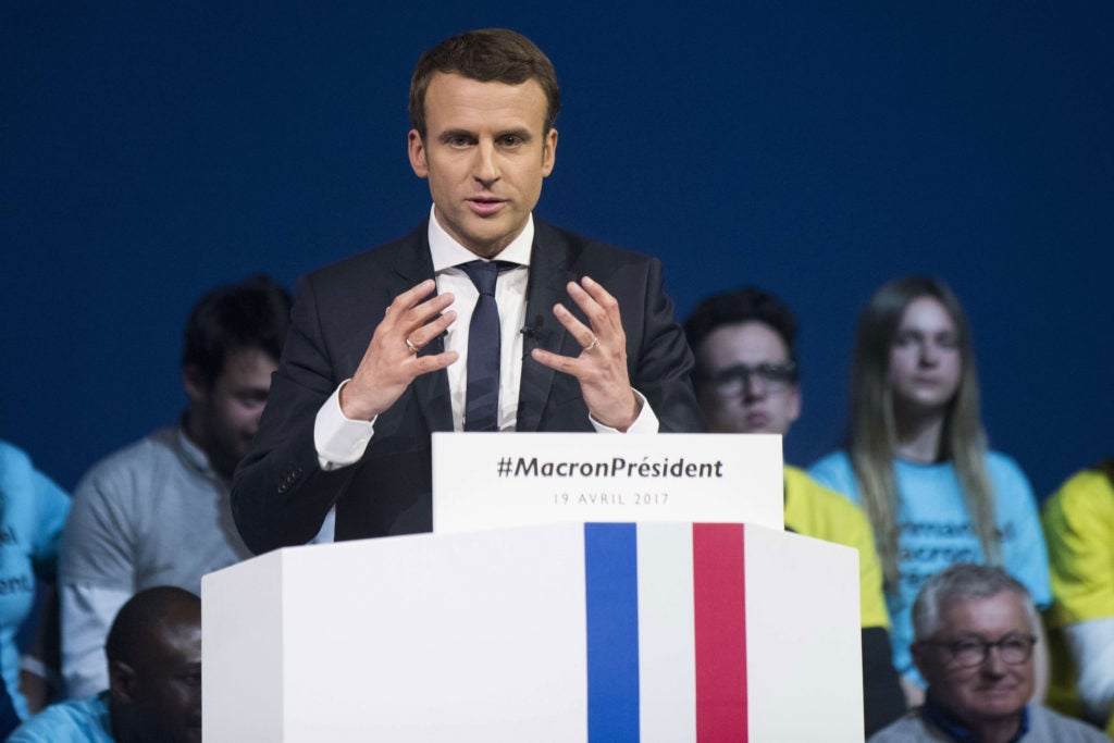 Polls show independent candidate Emmanuel Macron with a narrow lead. (Photo: Sebastien Salom-Gomis/Sipa/Newscom)