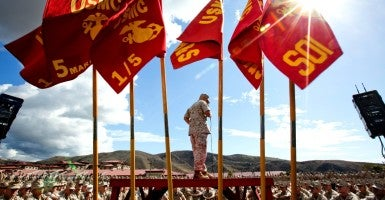 Commandant of the Marine Corps, Gen. Robert B. Neller, speaks to Marines, Sailors and civilians at the San Mateo Parade Deck, Camp Pendleton, California, Oct. 5, 2015. Neller outlined the Corps current priorities, expectations, listened and answered Marines' questions.   (U.S. Marine Corps photo by Sgt. Gabriela Garcia/Released)