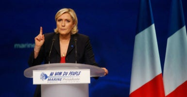 Marine Le Pen, leader of the far-right National Front, is expected to reach the second and final election round. (Photo: PhotoPQR/La Provence/MaxPPP)