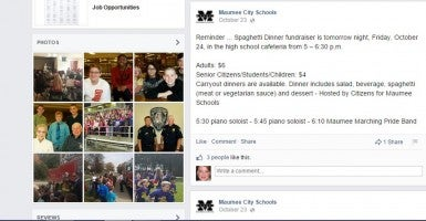 Maumee City Schools used their official Facebook page to advertise their levy campaign fundraiser. Use of public resources to promote a levy campaign is illegal in Ohio. (Photo: Maumee City Schools Facebook page via Watchdog)