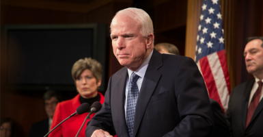 Sen. John McCain believes sequestration is harming military readiness. (Jeff Malet Photography/Newscom).