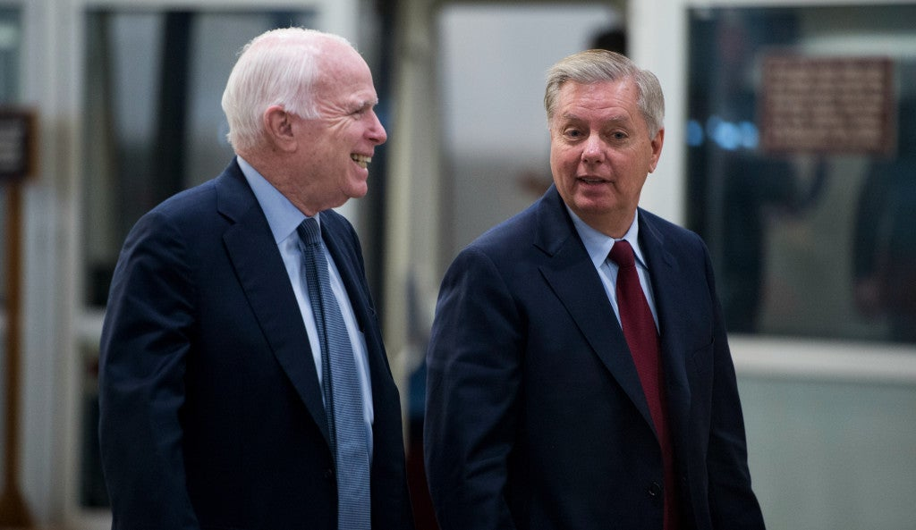 Sen. John McCain, R-Ariz., offered a proposal, supported by allied Sen. Lindsey Graham, R-S.C., to increase defense spending by $17 billion. (Photo: Bill Clark/CQ Roll Call/Newscom)
