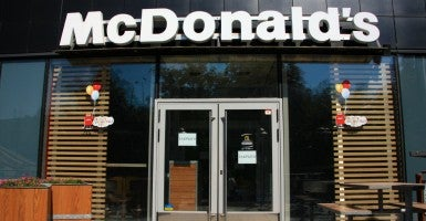 The shuttered Mariupol McDonald's (Photo: Nolan Peterson/The Daily Signal)