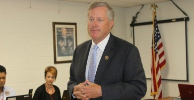 Rep. Mark Meadows, speaking at a McDowell County Veterans Affairs seminar in his Western North Carolina home district, insists he won't go down in history for moving to oust House Speaker John Boehner. (Photo: Josh Siegel/The Daily Signal)
