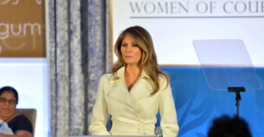 First lady Melania Trump speaks at the State Department's annual International Women of Courage Award ceremony, which honors women from around the world representing a diverse set of concerns. (Photo: State Department Photo/Sipa /Newscom)