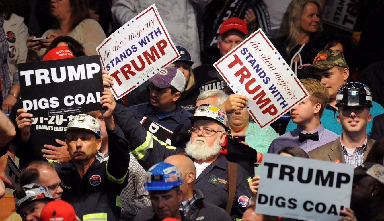 Government regulations have hurt the coal mining industry in states like West Virginia, where these miners came out in support of Donald Trump. (Photo: Chris Tilley/Reuters/Newscom)