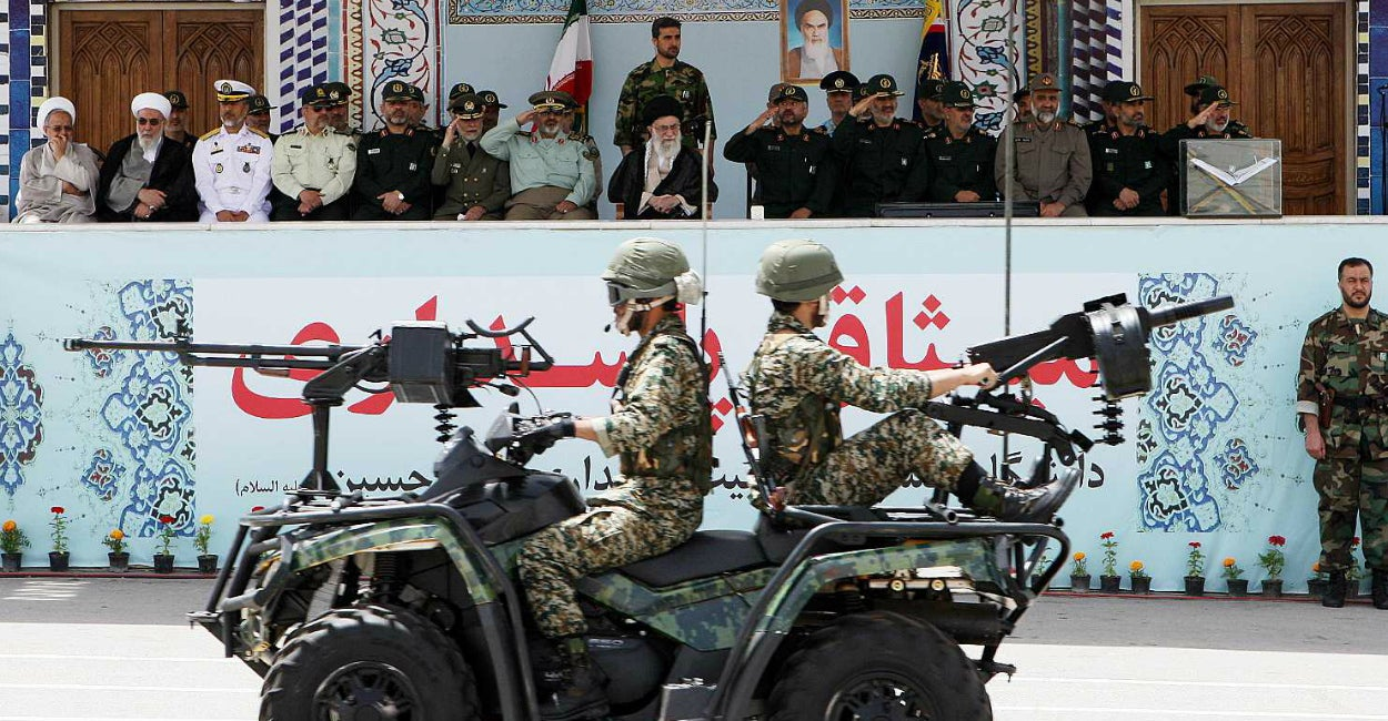 Iran's Supreme Leader Ayatollah Ali Khamenei attends The Islamic Revolutionary Guards Corps military parade. (Photo: Ay-Collection/SIPA/Newscom