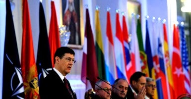 Secretary General of the NATO Parliamentary Assembly, David Hobbs, speaks during the welcoming ceremony of Montenegro into NATO at the Montenegrin Parliament, Cetinje, Montenegro. (Photo: Boris Pejovic/EPA/Newscom)