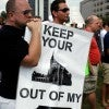 A rally in downtown Raleigh, N.C. of people opposing a same sex marriage ban (Travis Long/MCT/Newscom)