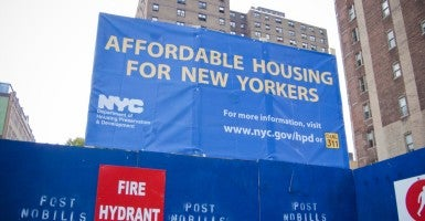 A sign announcing the construction of affordable housing is seen in the New York neighborhood of Chelsea. (Photo: Richard B. Levine/Newscom)