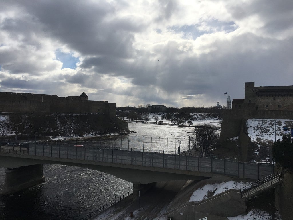 A view of the Estonian-Russian border, with the Estonian city of Narva on the right and the Russian city of Ivangorad on the left. (Photo: The Heritage Foundation)