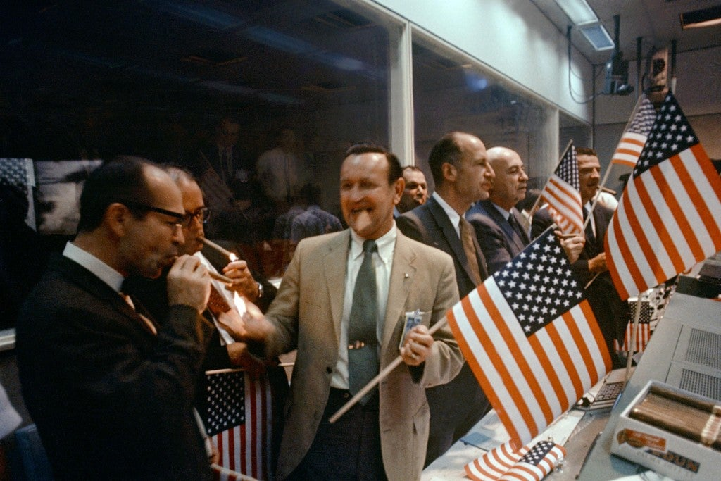 NASA officials celebrate in the  Mission Control Center after the successful conclusion of the Apollo 11 lunar landing mission. (Photo: NASA)