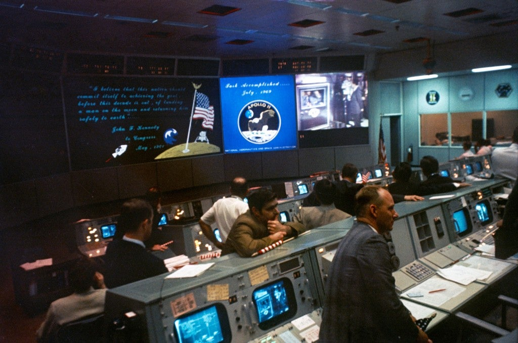 NASA workers watch the Apollo 11 mission from the Mission Control Center. (Photo: NASA)