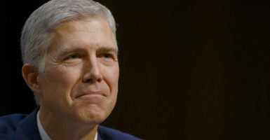 "In 2016, Judge Neil Gorsuch wrote a four-page dissent in which he argued that arresting a ""class clown for burping was going a step too far."" (Photo: Leigh Vogel/Sipa USA/Newscom)"