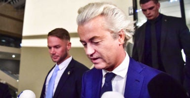 Populist leader Geert Wilders looks somber after his party's failure to receive a majority of votes in the Dutch election. (Photo: Robin Utrecht/EPA /Newscom)