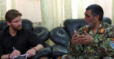 Journalist Nolan Peterson interviews Afghan National Army Brig. Gen. Abdul Raziq at FOB Shank, Afghanistan. (Photo: Courtesy of Nolan Peterson)