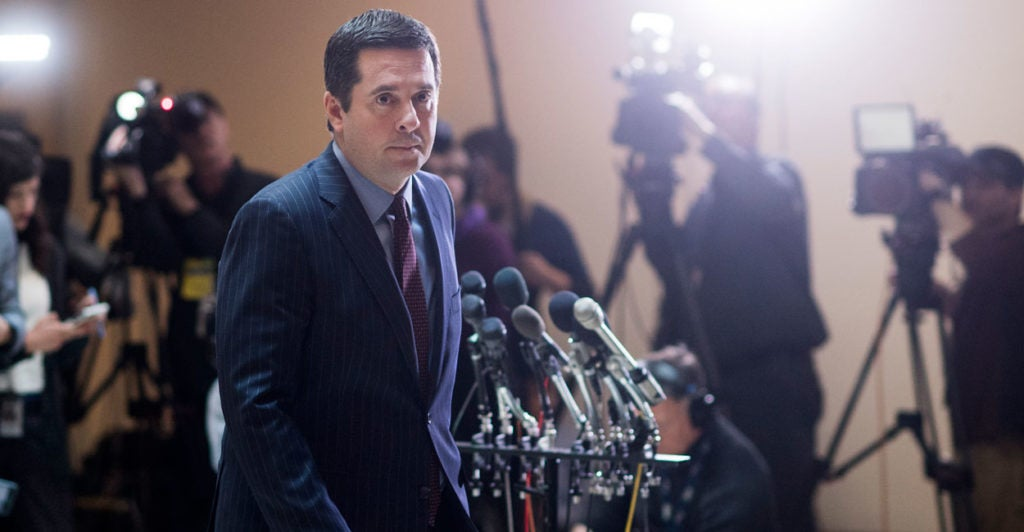 House Intelligence Committee Chairman Rep. Devin Nunes, R-Calif., held a press conference detailing potential surveillance of conversations involving President Trump or his team. (Photo: Bill Clark/CQ Roll Call/Newscom)