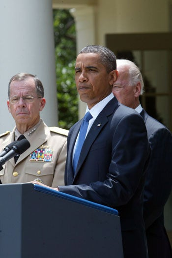 Gen. Stanley Petraeus, President Barack Obama, and Vice President Joe Biden