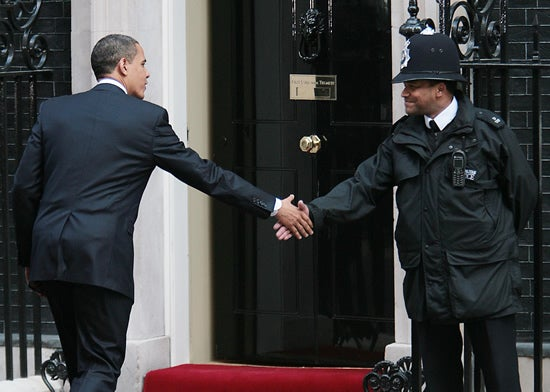 President Barak Obama leaves 10 Downing street after breakfast talkes with Prime Minister Gordon Brown on the morning of the G20 Summit in London 1st April 2009