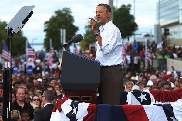 President Obama speaks to labor unions in Detroit on Labor Day 2011