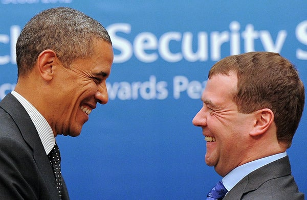 Barack Obama and Dmitry Medvedev at nuclear summit in South Korea.