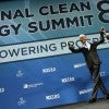 U.S. President Barack Obama and U.S. Senate Minority Leader Harry Reid (D-NV) wave to the crowd after addressing the National Clean Energy Summit at the Mandalay Bay Resort Convention Center in Las Vegas, Nevada, August 24, 2015. (Photo: CARLOS BARRIA/REUTERS/Newscom)