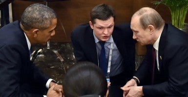 Nov. 15, 2015 - President Obama, speaks with Russian President Vladimir Putin prior to the opening session of the G-20 summit in Antalya, Turkey, Sunday. (Photo: Internacional/ ZUMA Wire/Newscom)