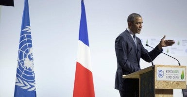 Le Bourget, France - President Barack Obama addresses the plenary session of the COP21, United Nations Climate Change Conference (Photo: Chuck Kennedy/ZUMA Press/Newscom)