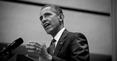 President Barack Obama addresses American University's School of International Service in Washington, District of Columbia, U.S., on Wednesday, Aug. 5, 2015. (Photo: Pete Marovich/CNP/AdMedia/Newscom / Edited Daily Signal)