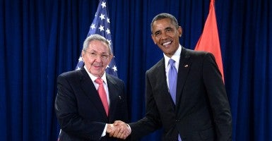 President Barack Obama  shakes hands with Cuban President Raul Castro during meeting at the United Nations on Sept. 29, 2015. (Photo: BEHAR ANTHONY/SIPA/UPI/Newscom)